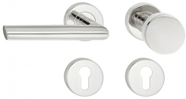 Deurkruk met deurknop gepolijst RVS
