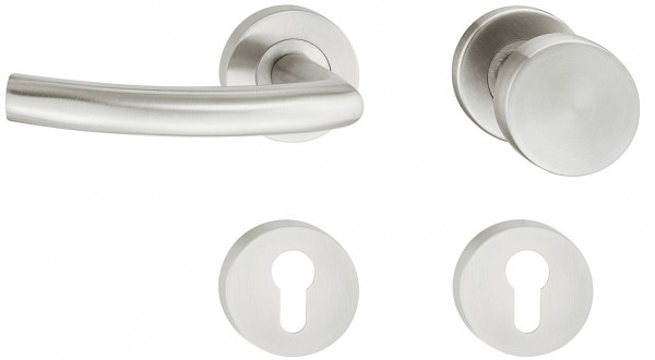 Deurkruk met deurknop Roestvast staal