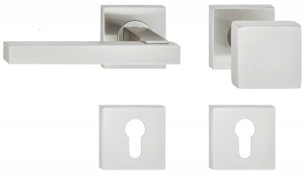 Deurkruk met deurknop van RVS vierkant (links)