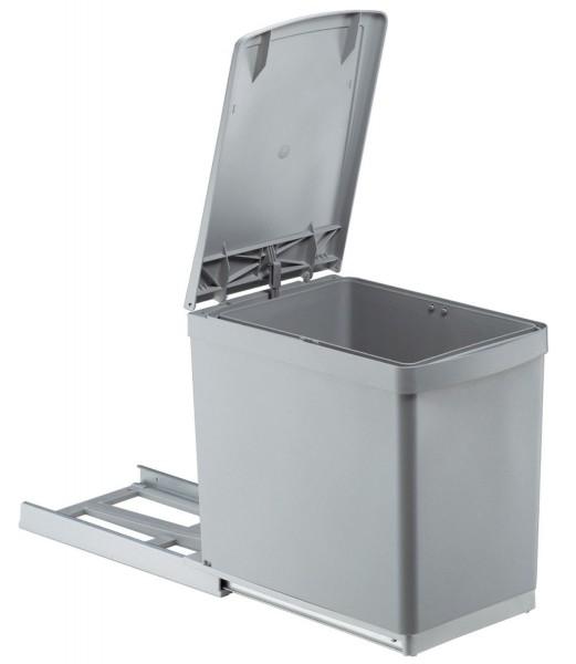 Afvalbak uitschuifbaar met klepdeksel 16L Grijs, voor kastbreedte 300 mm