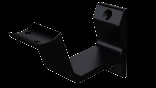 Leuninghouder hol profiel om te schroeven mat zwart 76 mm