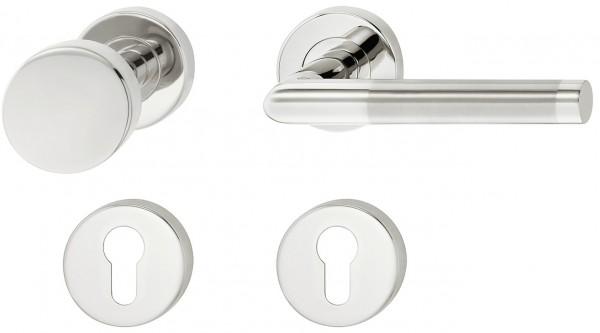 Deurkruk met deurknop RVS (rechts)