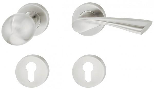 Deurkruk met deurknop mat RVS