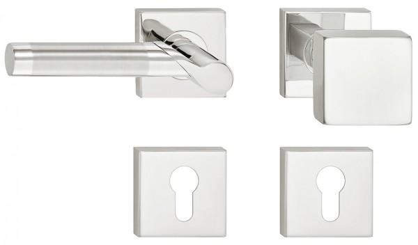 Deurkruk met deurknop tweekleurig RVS